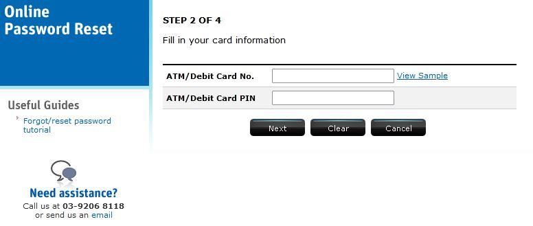 Lupa Password RHB Bank Internet Banking
