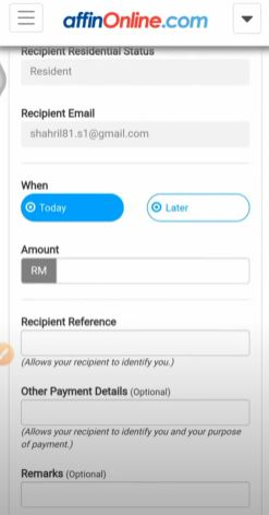 Amount, Recipient Reference, Other Payment Detail