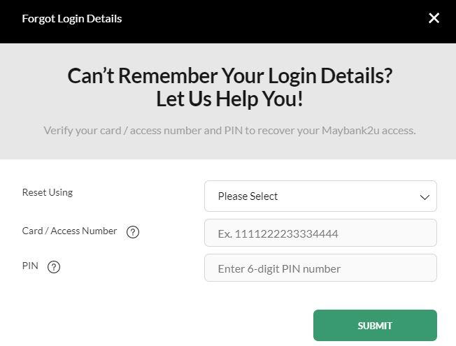 Butiran maklumat Reset Password
