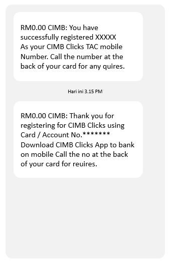 Cara Daftar No Telefon TAC CIMB via ATMs Machine