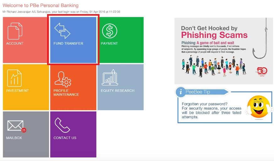 Cara IBG Transfer Public Bank Online Banking