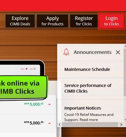 Cara Login CIMBClicks Via Internet Portal Banking