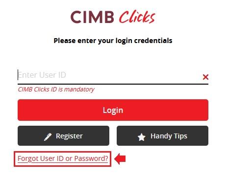 Cara Reset Password CIMBClicks Online