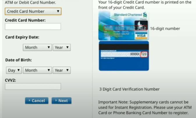 Credit Card Number Standard Chartered