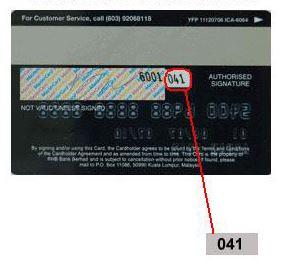 Debit Credit bahagian belakang myBSN