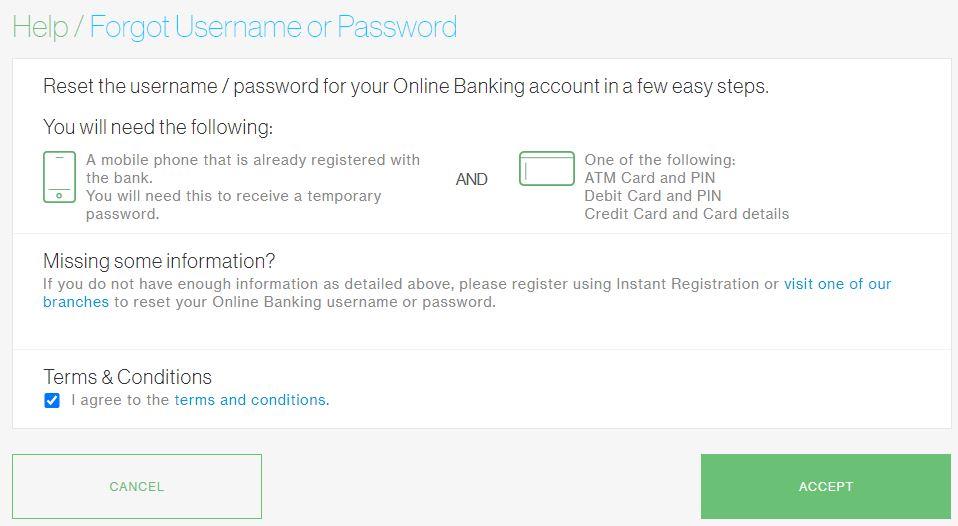 Forgot Username dan Password Standard Chartered