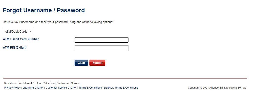 Forgot Username dan Password
