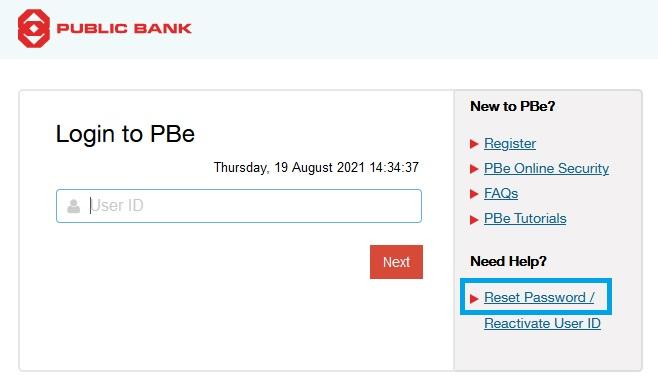 Lupa Username dan Password PBe Internet Banking Online Portal