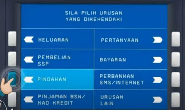 Menu Pindahan ATM BSN