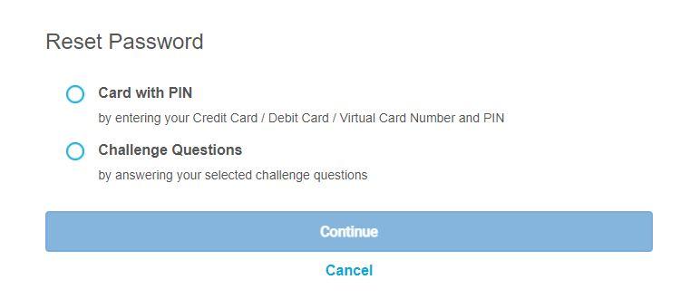 Reset Password Affin Bank via Card