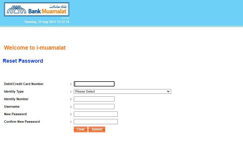 Reset Password Bank Muamalat