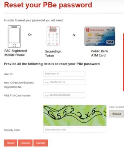 Reset Password Public Bank First Time Login