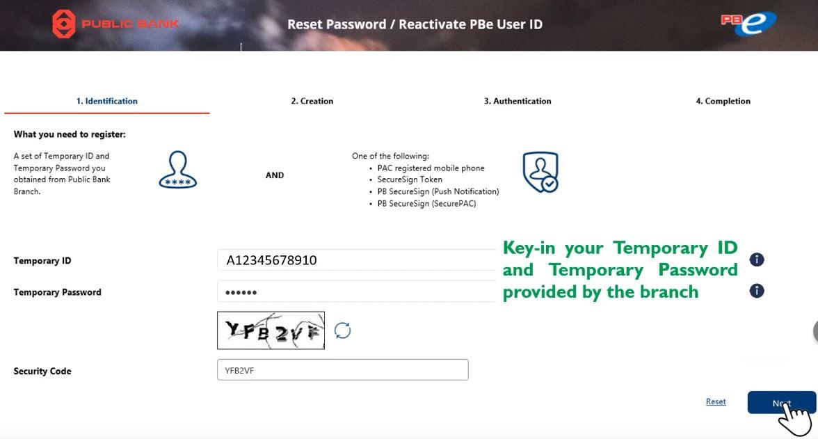 Reset Password Public Bank Online Guna ID Sementara