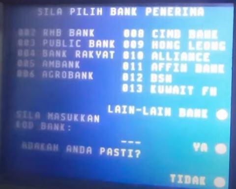 Senarai Kod Maybank