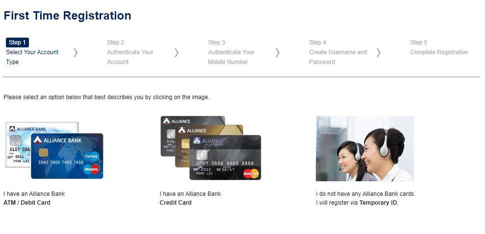 Step 1 cara daftar Alliance Bank