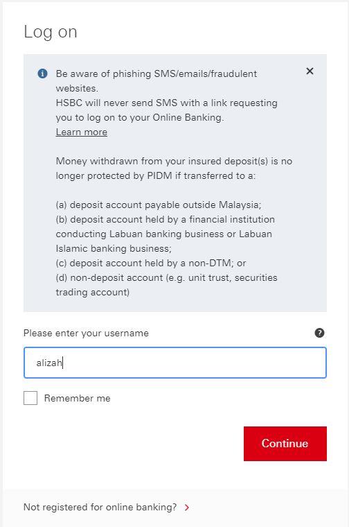 laman username HSBC