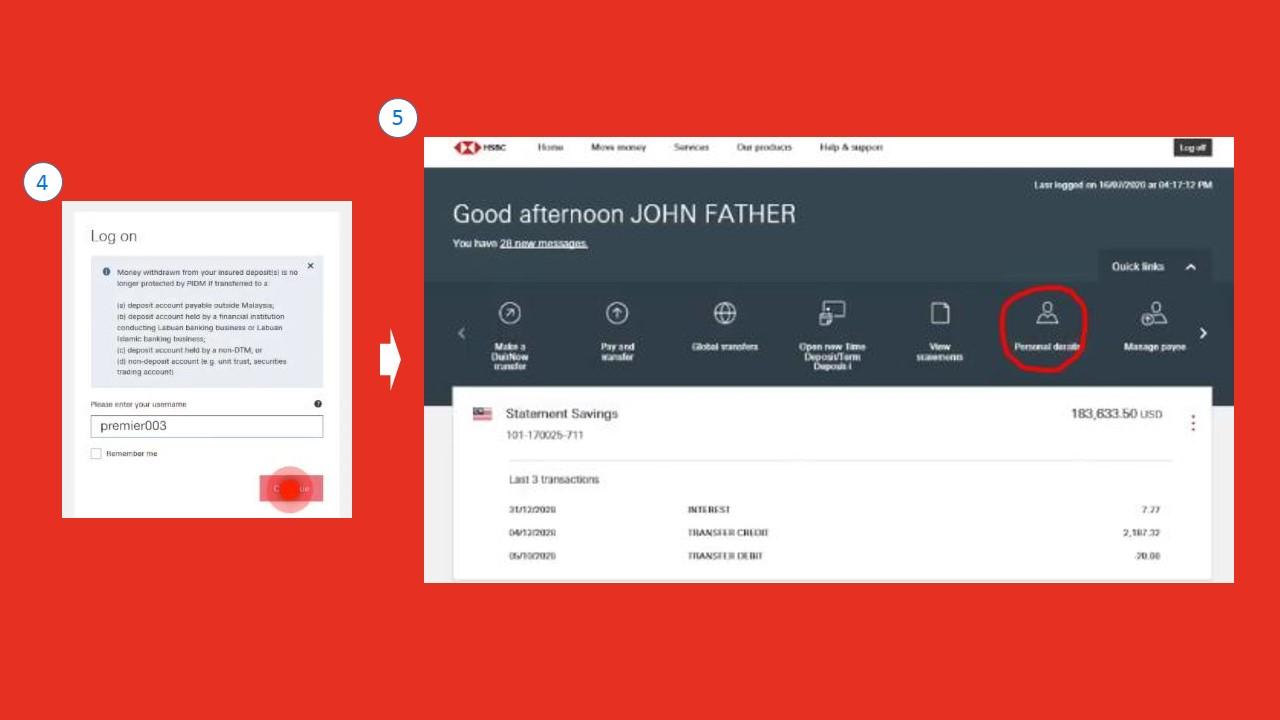 Cara Menukar Nombor Telefon HSBC using Online Banking Website