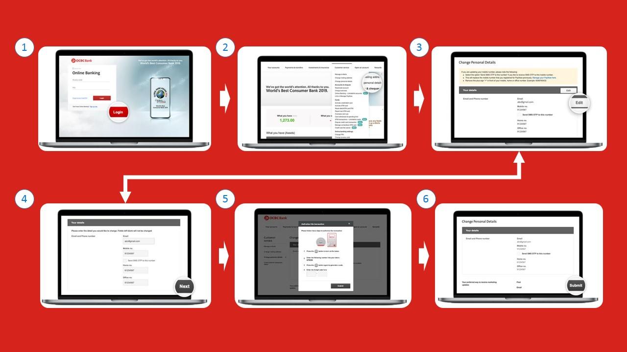 Cara Menukar Nombor Telefon OCBC melalui Internet Banking Portal