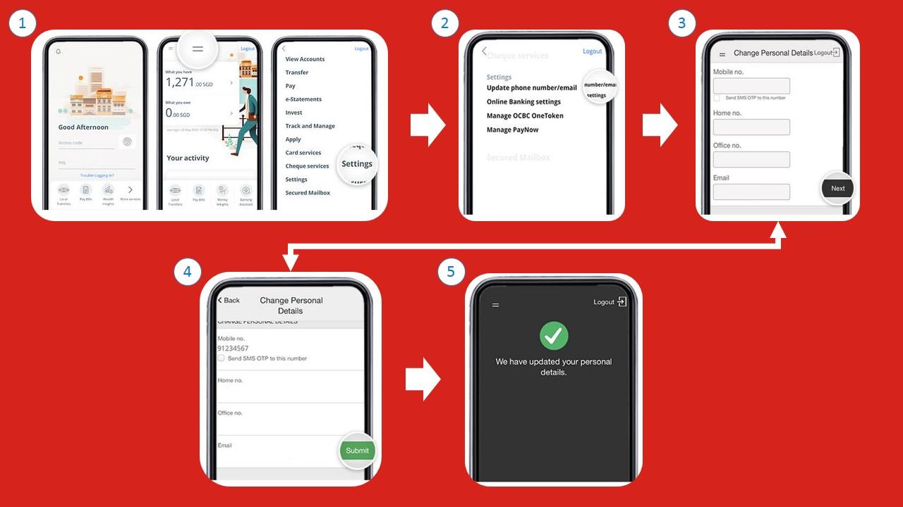 Cara Menukar Nombor Telefon OCBC melalui Internet Banking Website
