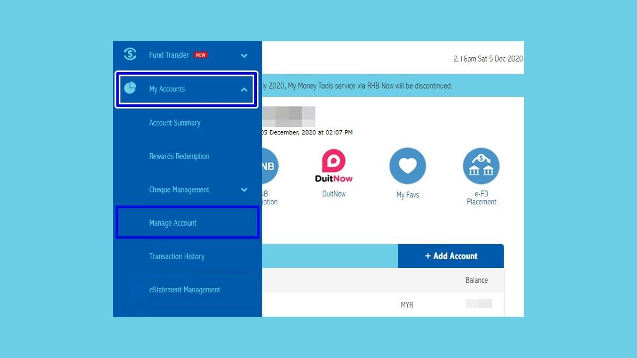 Cara Tukar No Telefon RHB Bank via Online Banking