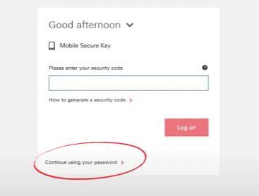 Continue Using Password
