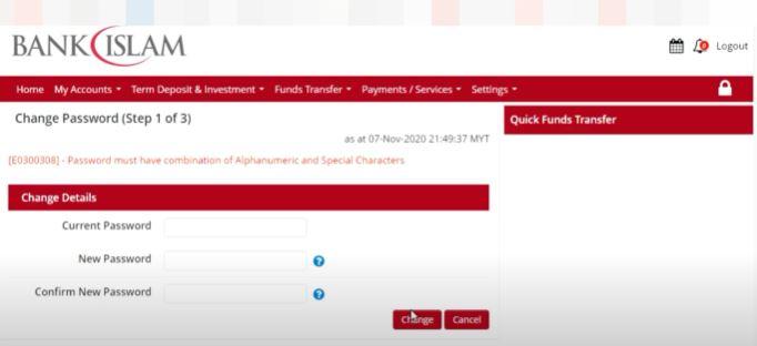 Current Password Bank Islam