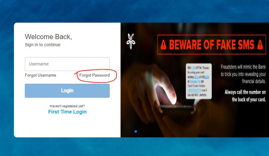Forgot Password Affin