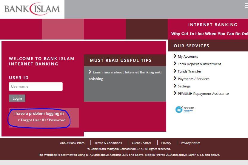 Forgot User ID Password Bank Islam