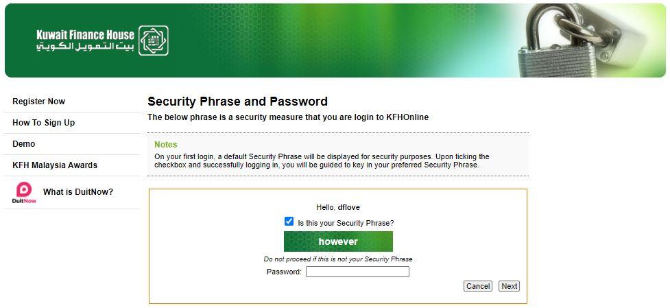 Login Password KFH