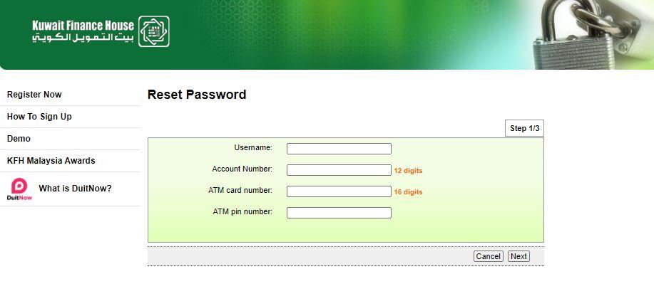 Maklumat Reset Password KFH