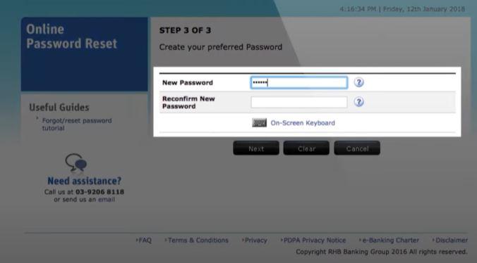 New Password RHB