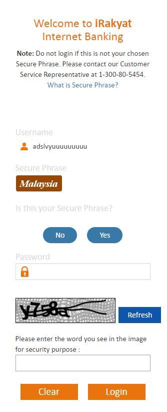 Password Login Bank Rakyat