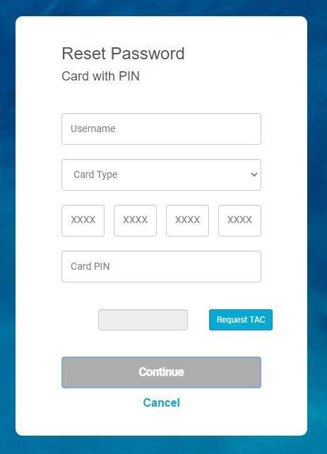 Reset Password Card With PIN