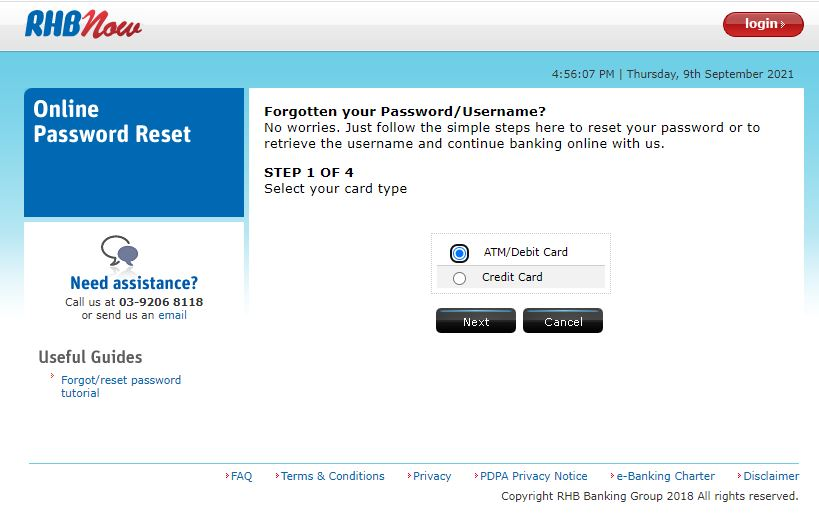 Reset Password RHB