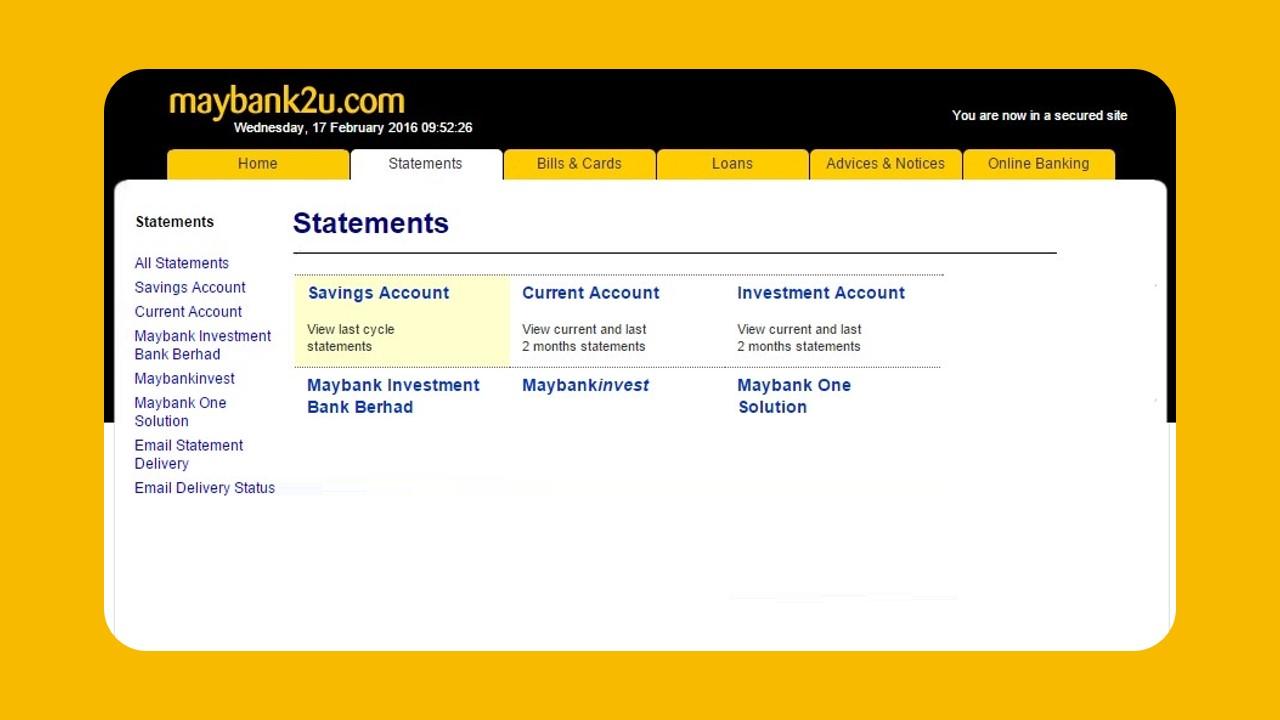 Semak Penyata Maybank2u using Web Portal
