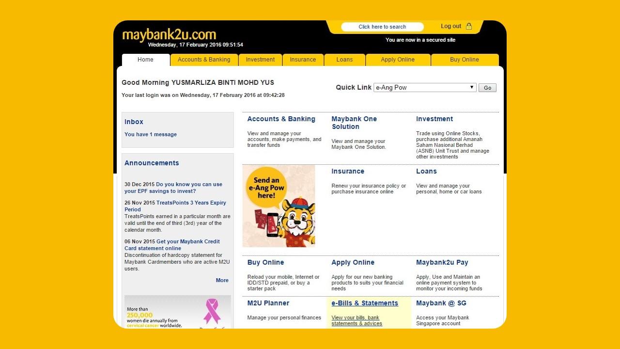 Semak Penyata Maybank2u using Web