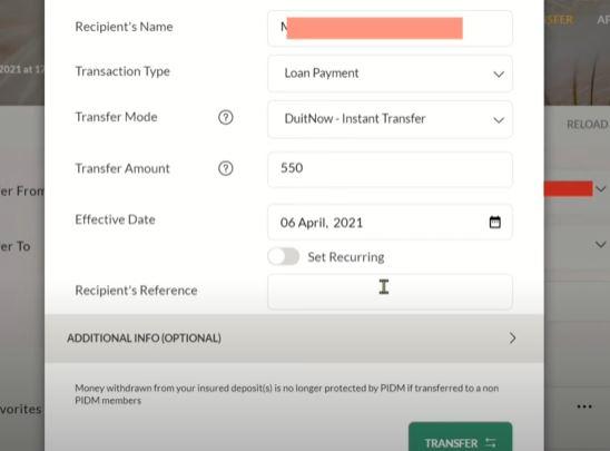Transfer Affin Bank