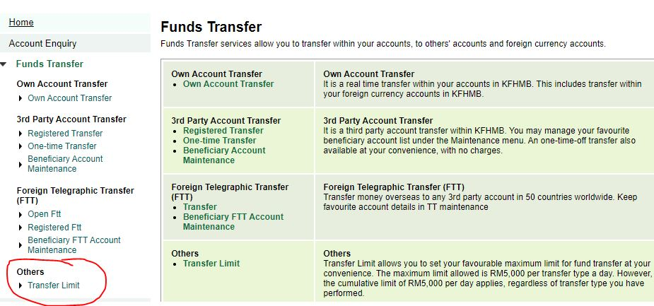 Transfer Limit