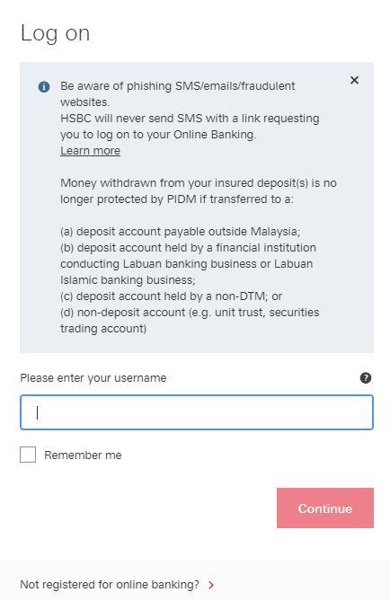 Username HSBC Online