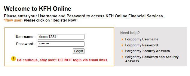 Username dan Password KFH